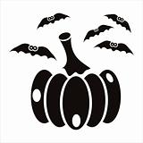 pumpkin with bats icon