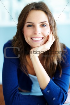 Portrait of relaxed young woman smiling
