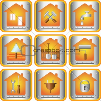 set icon with tools for house