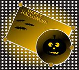 Halloween background. Grinning pumpkin at night. Vector