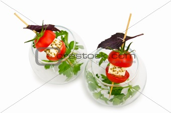 Canapes served in the plate