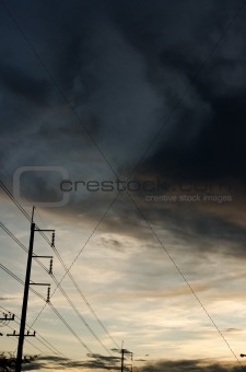 power line in evening