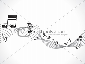 abstract musical note with wave