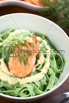 Green Tagliatelle with Shrimp