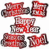 Christmas and New Year celebration rubber stamps