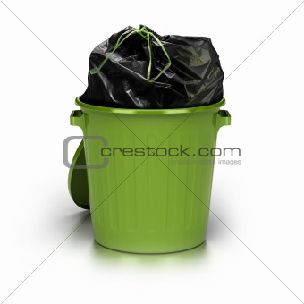 green garbage can. white background