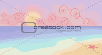 Beach and sunset with pastel colors