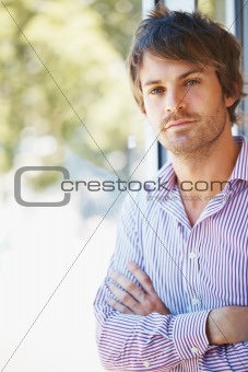 Attractive man thinking about future