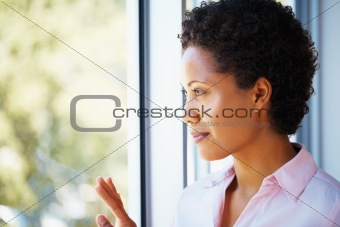Beautiful woman looking to the future
