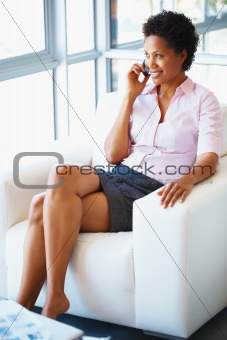 Woman discussing on cell phone