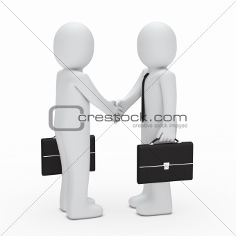 3d businessman handshake