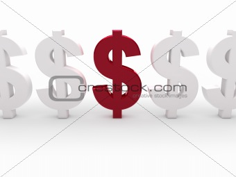 3d dollar red currency