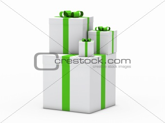 3d gift christmas green white