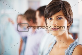 Woman taking break from group discussion
