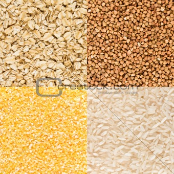 Background of millet, oatmeal, buckwheat, rice