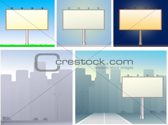 set of billboards and urban silhouette