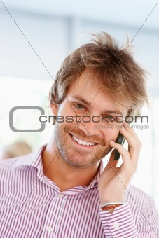 Man communicating on cell phone