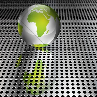 Metallic Green Globe on Chrome Grid