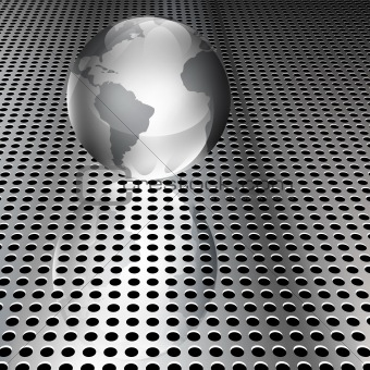 Metallic Globe on Chrome Grid