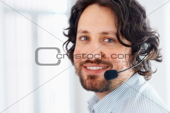 Business man talking on headset