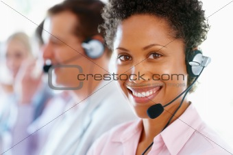 Beautiful customer representative