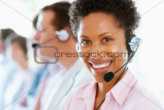 Female call center executive