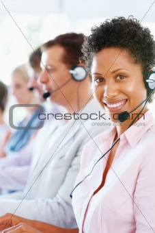 Pretty female call center executive