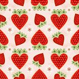 Pink effortless pattern with strawberry
