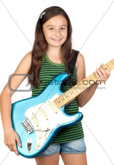 Adorable girl whit electric guitar