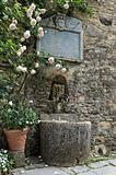 Marble fountain. Gropparello Castle. Emilia-Romagna. Italy.