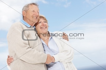 Mature couple looking at copyspace - Outdoor