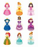cartoon beautiful princess icons set