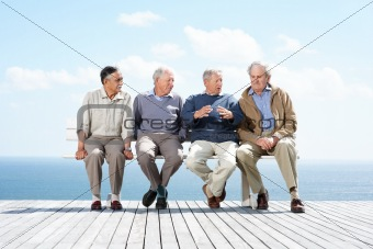 Discussion - Group of mature male friends sitting together on be