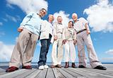 Group of old friends standing on the wooden plank