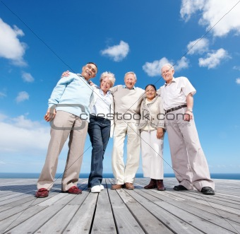 Group of senior friends enjoying their vacations