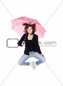 Jumping woman with umbrella