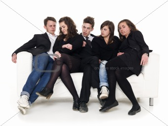 Group of people in a sofa