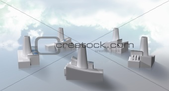 factory cluster with solar panels