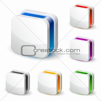 3d white square business icon