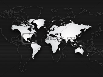 background of world map, black white