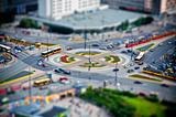 roundabout in the city at rush hour