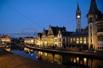 Graslei in Ghent, Belgium