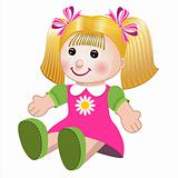 Vector illustration of girl doll
