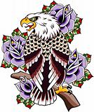 eagle with rose background