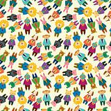 cartoon animal office worker seamless pattern