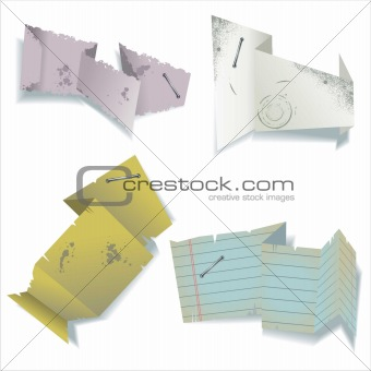 Old paper origami speech bubbles or stickers