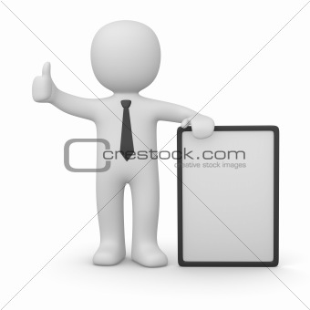 3d man with white poster