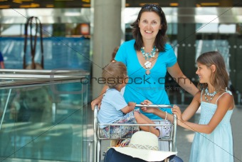 Mom and child in the airport
