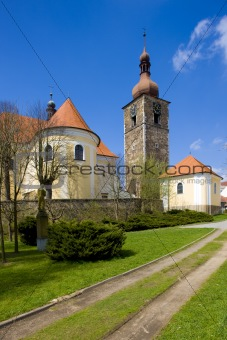 St. John&#39;s Church and town tower, Pribyslav, Czech Republic