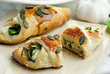 puff pockets filled with spinach and cheese